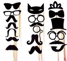17 pc Mustache Moustache Party Photo Booth Props by PartyHQ