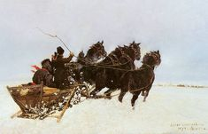 Four in Snowdrifts, 1873 - Józef Chełmoński Classic Paintings, Beautiful Paintings, Dashing Through The Snow, Horse Drawings, Art Database, Oil Painting Reproductions, Winter Landscape, Les Oeuvres, Painting & Drawing