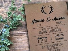 Deer Antlers Wedding Invitations Invites RSVP cards Country Rustic Antler Kraft Navy Coral Grey Coral Yellow Mint Green Red Orange Maroon Nautical Beach Grey Mint Burgundy Peach Pink printable Hunters antler boho horns hunting  Keep it simple with warm toned invitations The basics -