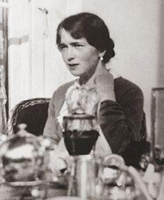Grand Duchess Olga Romanov enjoying tea time at the Alexander Palace