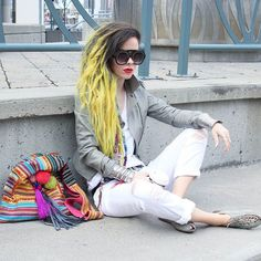 Have a beautiful weekend my sweethearts!!!  - Pom pom accessories from: @mumshandmade - Sunglasses from: @zerouv - Hair color from: @arcticfoxhaircolor #bewolf #fashion #belt #mumshandmade #pompom #handbag #zerouv #sunglasses #eyewear #neon #yellow #arcticfoxhaircolor #pravana #limecrimemakeup #limecrime #hm #leatherjacket #allwhite #jeans #urbanoutfitters #sandals #gypsy #boho #bohemian #streetstyle #streetfashion #fashionblogger #canadianblogger #ootdmtl by bewolffashion