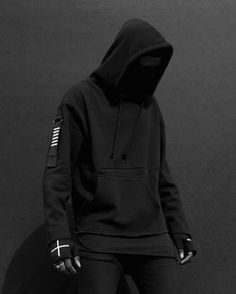 Health goth all black everything streetwear future ninja style Fashion Mode, Dark Fashion, Urban Fashion, Mens Fashion, White Fashion, Mode Cyberpunk, Cyberpunk Fashion, Street Goth, Street Wear