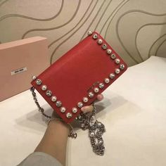 2017 Spring Miu Miu Little Bag Red with Crystals and Pearls