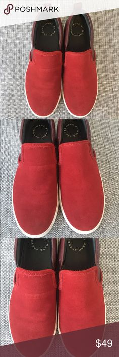 PRICE DROP! Marc Jacobs Designer Slip Ons 👟 Stand out with this pair of Marc by Marc Jacobs red sneakers! Red suede front, burgundy leather back. Worn twice, selling as is. May have some minor scuffs from use and soles may need cleaning. Marc By Marc Jacobs Shoes Sneakers