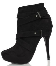 """Black Faux Suede Strappy Platform High Heel Ankle Boots Bito -  Black faux suede pump booties features hidden platform 1"""", almond toe, strappy design on 5 1/4 """" high heels. Non-skid rubber soles. Product Features  Synthetic does-not-contain-animal-products   #Shoes"""