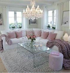 39 Beautiful Romantic Living Room Decor Ideas - Living-room is the most important and most spacious room at home, it welcomes guests, it reflects our way of life, so it should be exclusively maintai. Pink Living Room, Living Room Decor Apartment, Comfortable Living Rooms, Home Decor, Room Inspiration, Apartment Decor, Romantic Living Room, Living Decor, Home And Living