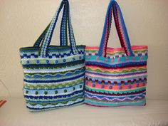 This tote bag can be made with as many or as few different colors that you want to use. It is a great pattern for using up your stash yarns. This pattern is not complicated. This pattern uses different stitches for each row. Instructions for lining the tote have also been included. The way I line my bags is the most simple way I have found, I love to crochet, but sewing is a challenge for me.