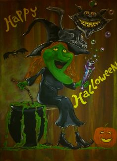 Witch realizes her cat has stolen her teeth! Great for Halloween night or a Halloween party Halloween Night, Happy Halloween, Halloween Party, Caricatures, Grinch, Teeth, Paintings, Portrait, Cats