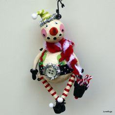 Snowman Folk Art Christmas Holiday Ornament  Whimsical Decoration