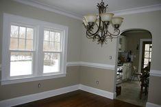 wall molding.... paint colors Beaker beige bottom, Elmira white top Benjamin Moore