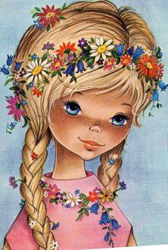 Vintage Postcard 70's with beautiful blue eye girl flower power
