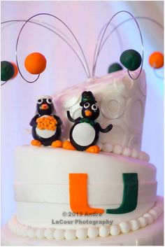 @University of Miami details on our cake by @Elysia Root Cakes #DoveWedding2013 - Photo by @Andre LaCour Photography