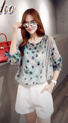 Street style 3/4 sleeved crew neck green dot printed lace cotton blend T-shirt