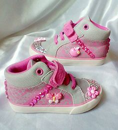 Clarks hi top canvas shoes with Kawaii characters and rhinestones.