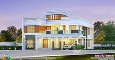 4 bedroom beautiful flat roof house in an area of 2843 square feet by Harijith S R, Kollam, Kerala. Indian Home Design, Kerala House Design, Building Layout, Building A House, Flat Roof House Designs, India House, Indian House Plans, Free House Plans, Kerala Houses