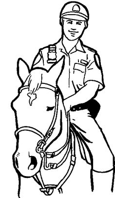 Pictures Policeman Mounted The Horse Coloring Pages