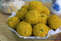 Bolinhos de Arroz Integral Assados » Acompanhamentos, Receitas Saudáveis » Guloso e Saudável Lunch Recipes, Vegetarian Recipes, Healthy Recipes, Paella, Good Food, Yummy Food, Portuguese Recipes, Greens Recipe, Easy Cooking