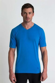 Essential Short Sleeve Men's essential v-neck short sleeve slub jersey t-shirt.