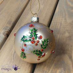 3D Verre Nacré Blanc Paon Babiole Décoration de Noël paillettes disque d/'arbre