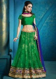 Wedding Wear Green Net Embroidered Work Lehenga Choli