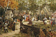 Medieval- Referring to the Middle Ages in Europe or the period of history between ancient and modern times. Medieval World, Medieval Town, Medieval Fantasy, Medieval Times History, Friedrich Ii, Russian Painting, Russian Art, Fantasy Setting, Dark Ages