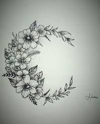 Resultado de imagen para floral moon tattoo