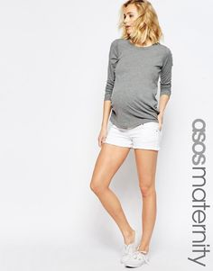 ASOS+Maternity+White+Denim+Shorts