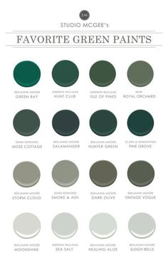 Studio McGee: Our Favorite Green Paints Shop Benjamin Moore Green Bay Hunt Club SW 6468 - Green Paint Color - Sherwin-Williams, Isle of Pines SW 6461 - Green Paint Color - Sherwin-Williams, Royal Orchard Studio Mcgee, Benjamin Moore Storm, Benjamin Moore Metallic Paint, Benjamin Moore Green Gray, Benjamin Moore Moonshine, Dunn Edwards Paint, Green Paint Colors, Green Gray Paint, Green Wall Color