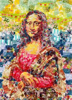 Mona Lisa (Recreated with Colorful Masking Tape) by Nasa Funahara