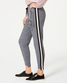 Calvin Klein Performance Logo Varsity-Stripe Step-Hem Joggers - Gray S Calvin Clein, Mens Capri Pants, Joggers, Sweatpants, Athletic Outfits, Lounge Wear, Gray, Sweatshirts, Image