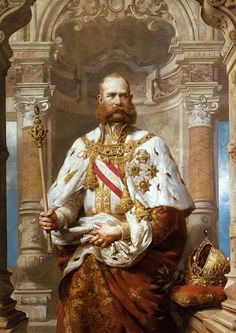 "Portrait by unknown artist of Emperor Franz Joseph I (18 Aug 1830-21 Nov 1916) Austria in 1879. Husband of Empress Elisabeth ""Sissi"" (Elisabeth Amalie Eugenie) (24 Dec 1837-10 Sep 1898) Bavaria."