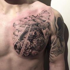 Left Arm Tattoos, Forearm Sleeve Tattoos, Dad Tattoos, Tattoo Sleeve Designs, Tattoo Designs Men, Body Art Tattoos, Tattoos For Guys, Chest Piece Tattoo Mens, Time Piece Tattoo