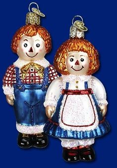 Raggedy Ann and Andy Assorted Rag Doll Old World Christmas Glass Ornaments 44030 | eBay
