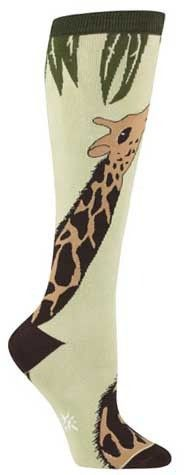 No two giraffes have the same spot pattern. Cool! Khaki colored knee high socks with giraffe neck wrapping around the leg. Fits women's shoe size 5-10.