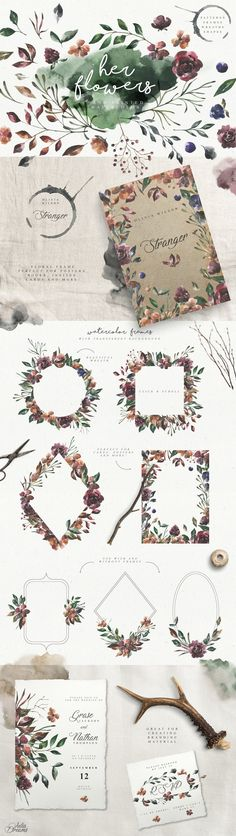 Her Flowers by Julia Dreams on @creativemarket #watercolor #flowers #wintery