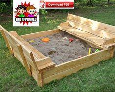 playground plan/Sandbox plan/Sand box plan/Sandbox with bench plan/outdoor playground equipment plan / Kids sandbox plan /sand box plan - Modern Design Backyard Playground, Backyard For Kids, Preschool Playground, Backyard Gazebo, Playground Ideas, Backyard Ideas, Kids Sandbox, Sandbox Ideas, Sandbox Diy