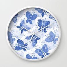 Blue Watercolor Butterflies Wall Clock