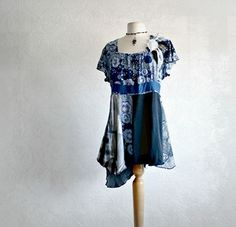 Blue Shirt Bohemian Top Slouchy Upcycled Clothing Gypsy Tunic Eco Friendly Clothes Plus Size XL 1X