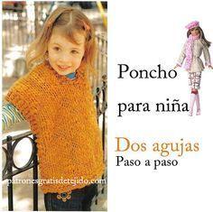 Poncho para niña para tejer en una tarde / Paso a paso | Crochet y Dos agujas
