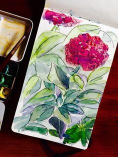 TodoConU  ILUSTRACIONES: Flores Tattoo, Painting, Hydrangeas, Pintura, Illustrations, Flowers, Painting Art, Tattoos, Paintings