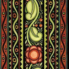 Begin Julie Paschkis Julen Folk Art Stripe Black