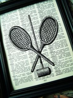 Tennis Racket Crouquet by Winterberrycottage Vintage Sports Decor, Tennis Racket, Printed, My Style, Fun, Etsy, Inspiration, Biblical Inspiration, Lol