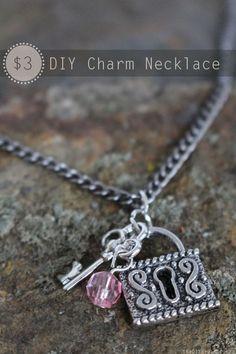 $3 DIY Charm Necklace Tutorial | Jewelry | Valentine