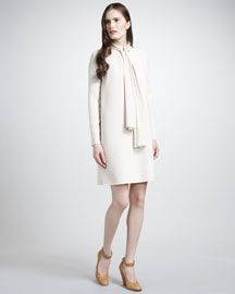 CHLOE Ivory Crepe Dress With Necktie Pin