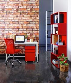 Inspiration from Fall in love with your workspace with a dash of red. Office Works, Linen Cupboard, My Workspace, My Dream, Office Decor, Storage Spaces, Shelving, Red And White, Stationery