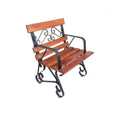 Poltrona madeira e ferro - 1568 #arte #moveis #rusticos - www.artemoveisrusticos.com.br Outdoor Chairs, Outdoor Furniture, Outdoor Decor, Metal Art Projects, Chair Bench, Garden Chairs, Wood And Metal, Blacksmithing, Wrought Iron