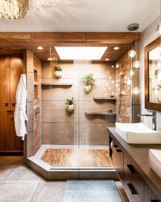 Modern Bathroom Design, Bathroom Interior Design, Decor Interior Design, Natural Bathroom Interior, Interior Doors, Luxury Interior, Bad Inspiration, Bathroom Inspiration, Dream Bathrooms