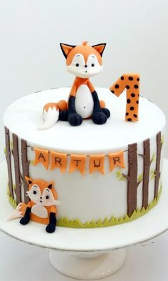 Fox First Birthday Cake