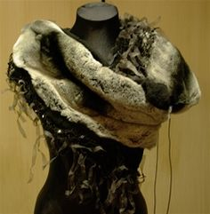 "Pellechia ""Gesture"" Wrap in Chinchilla, Black Silk Fringe, and Sequins"