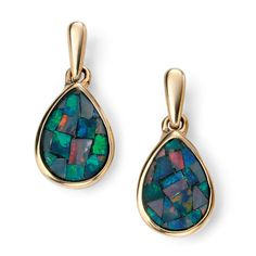 Yellow Gold Teardrop Mosaic Opal Earrings